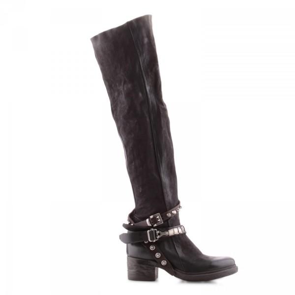 A.S.98 (Airstep) Overknee Stiefel aus Kalbsleder Farbe: nero