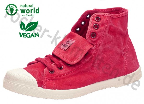 Vegane High Top Sneaker 107E von Natural World aus Spanien Farbe rot (rojo)