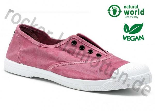 Vegane Sneaker 102E von Natural World aus Spanien Farbe rosa