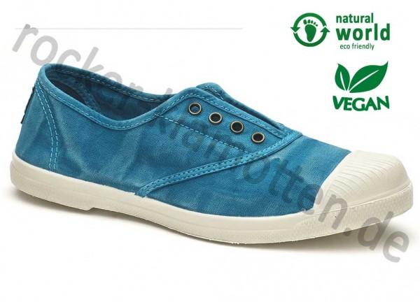 Vegane Sneaker 102E von Natural World aus Spanien Farbe türkis (caribbean)