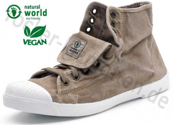 Vegane High Top Sneaker 107E von Natural World aus Spanien Farbe beige