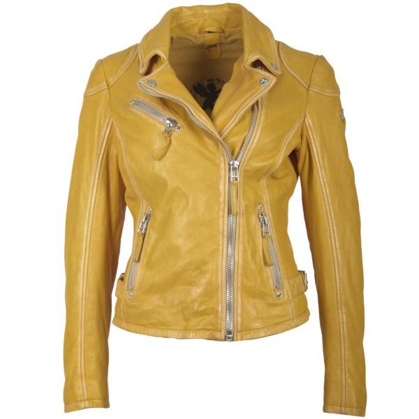 Gipsy Lederjacke im Biker-Stil mit asymm. RV, Farbe gelb