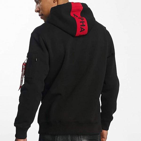 Alpha Industries 178314 RED STRIPE Hoodie Kapuzen Sweatshirt schwarz rot