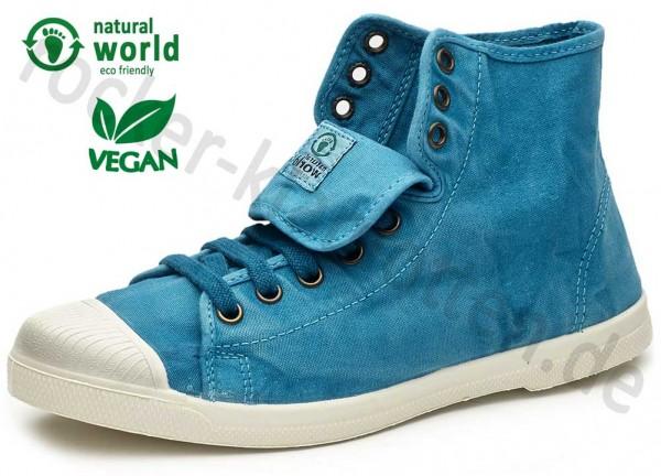 Vegane High Top Sneaker 107E von Natural World aus Spanien Farbe türkis (caribbean)