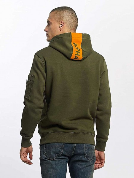 Alpha Industries 178314 RED STRIPE Hoodie Kapuzen Sweatshirt grün orange