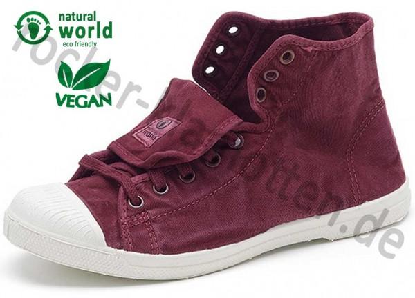 Vegane High Top Sneaker 107E von Natural World aus Spanien Farbe burgund (burdeos)