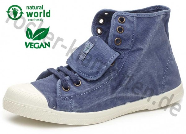 Vegane High Top Sneaker 107E von Natural World aus Spanien Farbe blau (mar)
