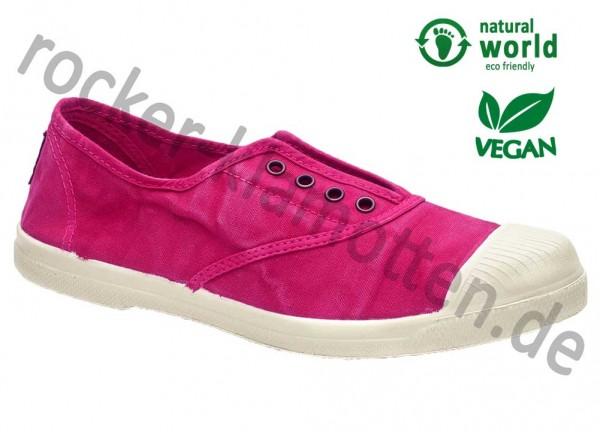 Vegane Sneaker 102E von Natural World aus Spanien Farbe fucsia