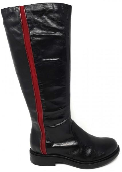 MJUS 544767 Stiefel aus Leder mit rotem Colorblock Zierstreifen