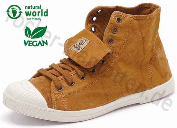 Vegane High Top Sneaker 107E von Natural World aus Spanien Farbe zimt (cuero)