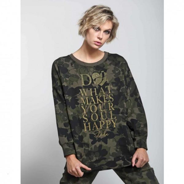 Sweatshirt Happy Soul mit goldenem Glitzer-Print vom italienischen Label Deha
