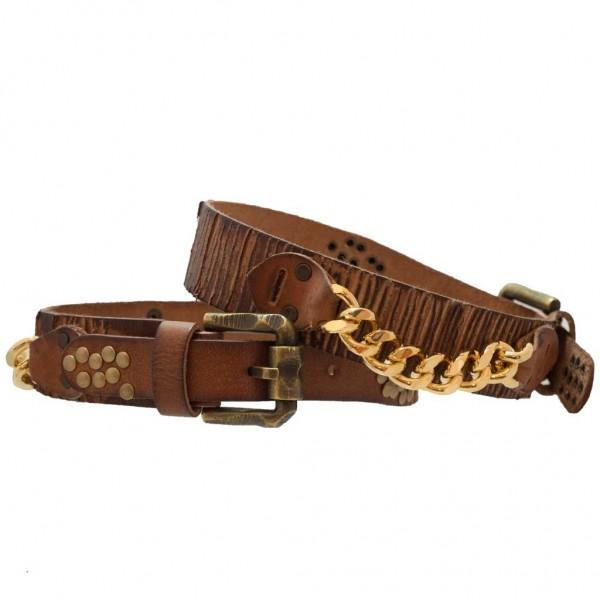 Stiefelbänder aus gekerbtem Leder mit Kette