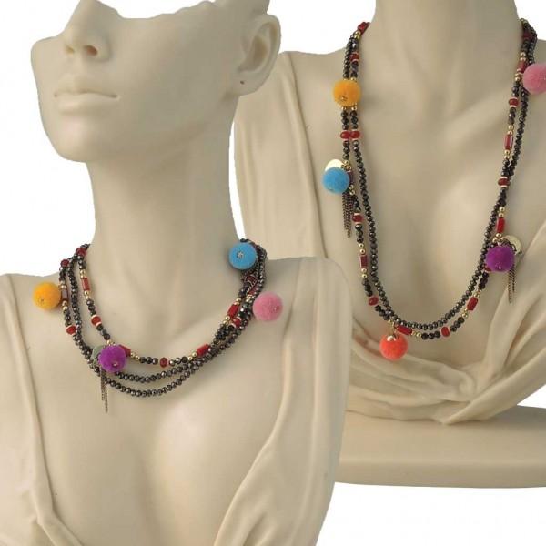 Fußkettchen / Armband / Schuhschmuck aus Kristall-Perlen mit bunten Pompons