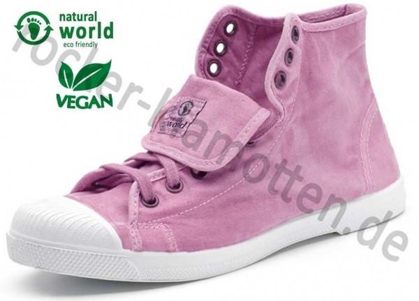 Vegane High Top Sneaker 107E von Natural World aus Spanien Farbe rosa