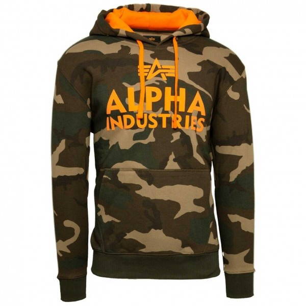 Alpha Industries 143302 Foam Print Hoodie Kapuzen Sweat camouflage orange
