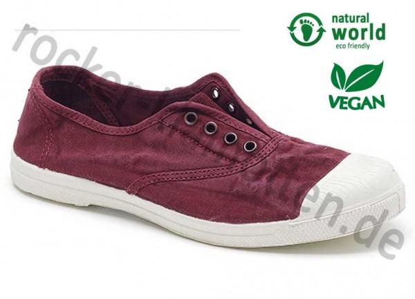 Vegane Sneaker 102E von Natural World aus Spanien Farbe burgund (burdeos)
